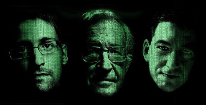 Edward Snowden, Glenn Greenwald und Noam Chomsky